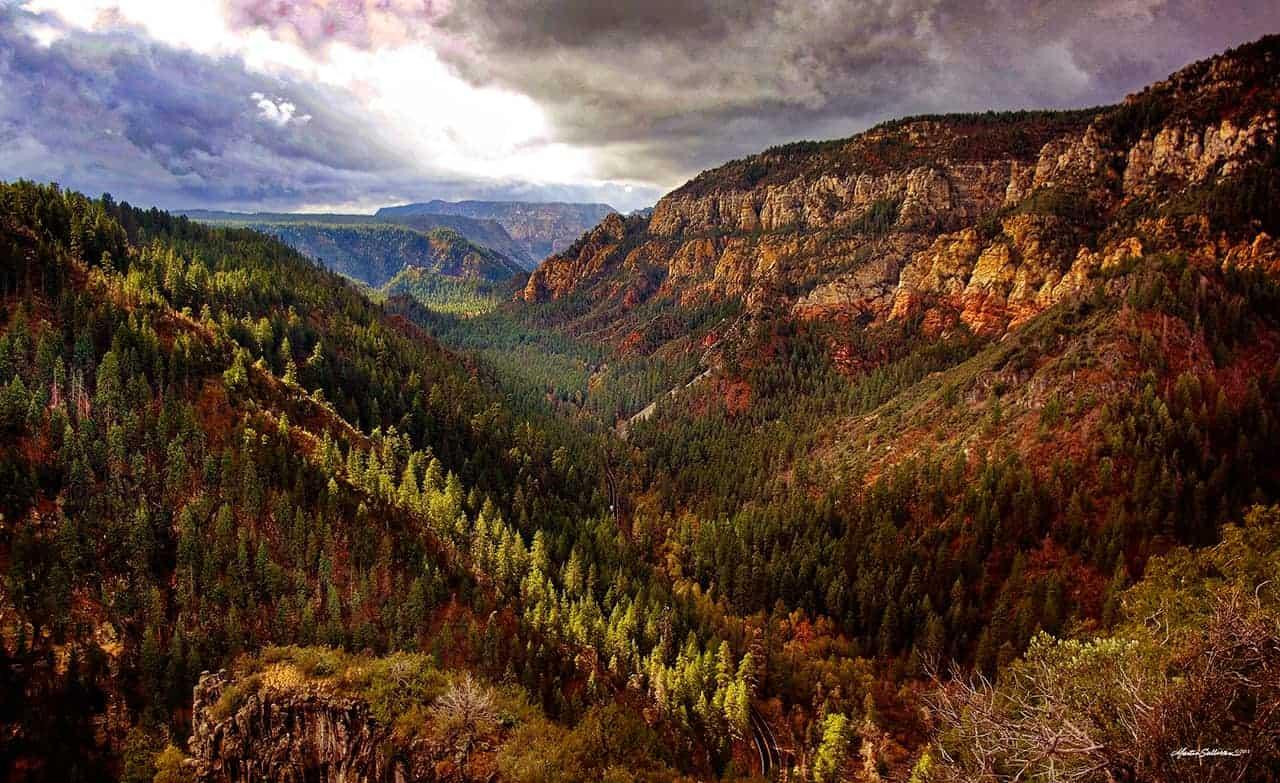 Oak Creek Canyon Stormy Weather by martinsullivandesign.com
