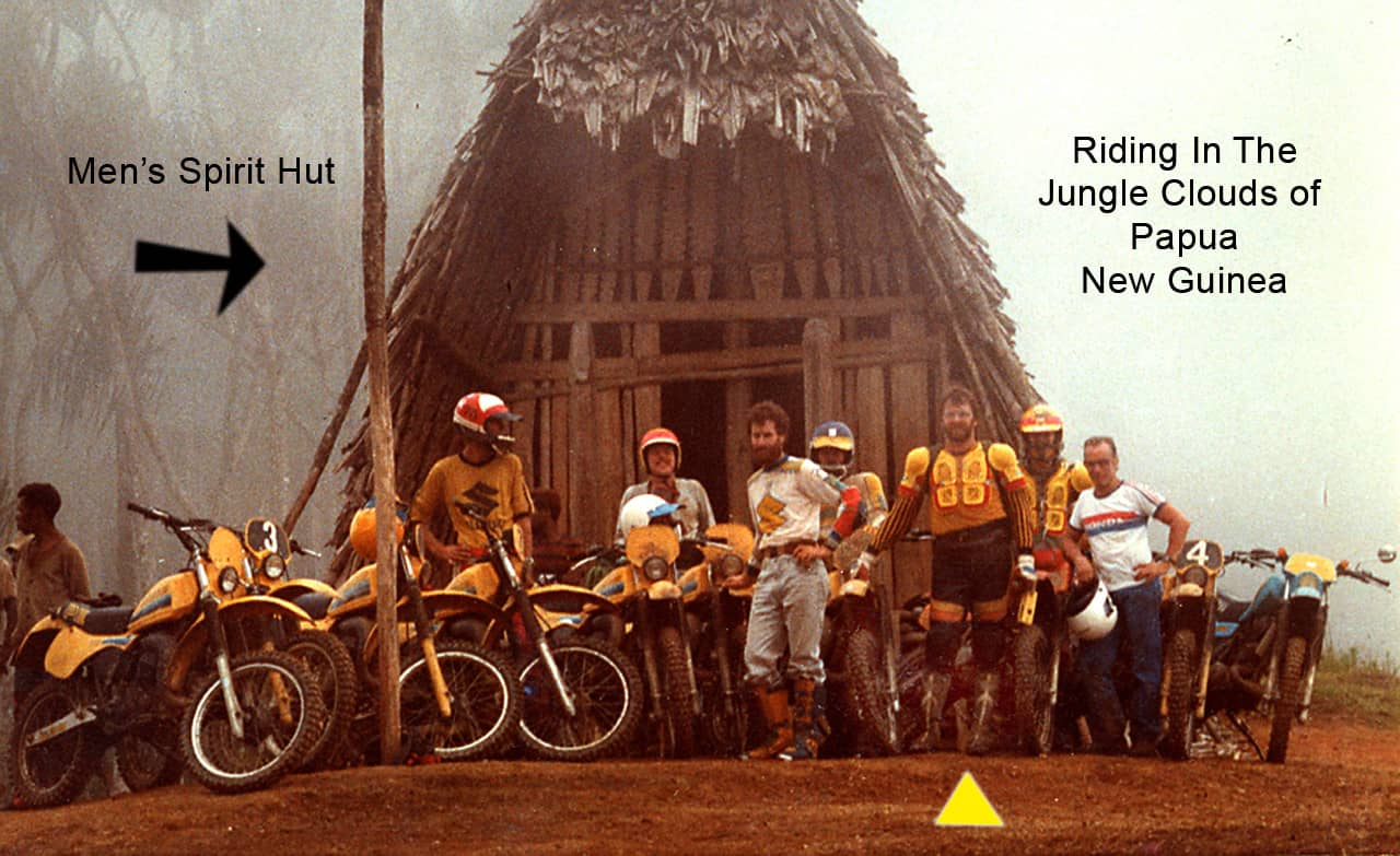 <h4>Me and the Spirit Hut in Papua New Guinea</h4><br> <p>Our group took a long holiday weekend to ride into the jungle. This was one of our stops along the walking paths between the villages. There were no roads.What seems to be mist is actually clouds as we were up that high.</p>