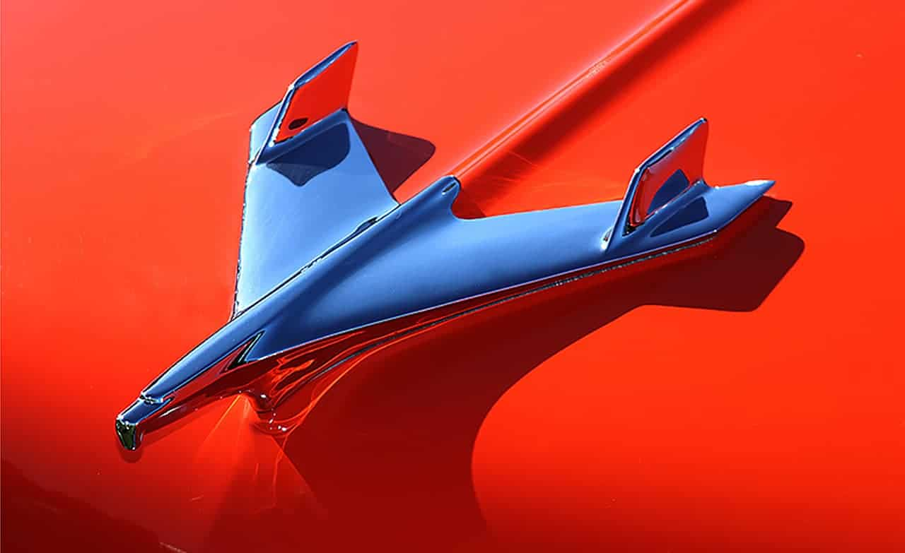 1955 Chevrolet Hood Ornament on Red by martinsullivandesign.com