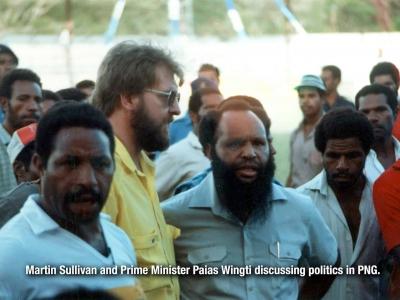 Papua New Guinea Prime Minister Paias Wingti and Martin Sullivan in Port Moresby, Papua New Guinea